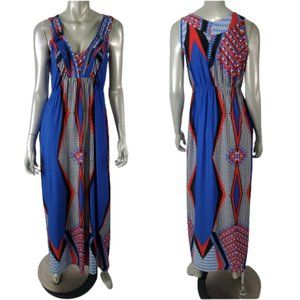 Live and Let Live Womens Maxi Empire Dress Blue